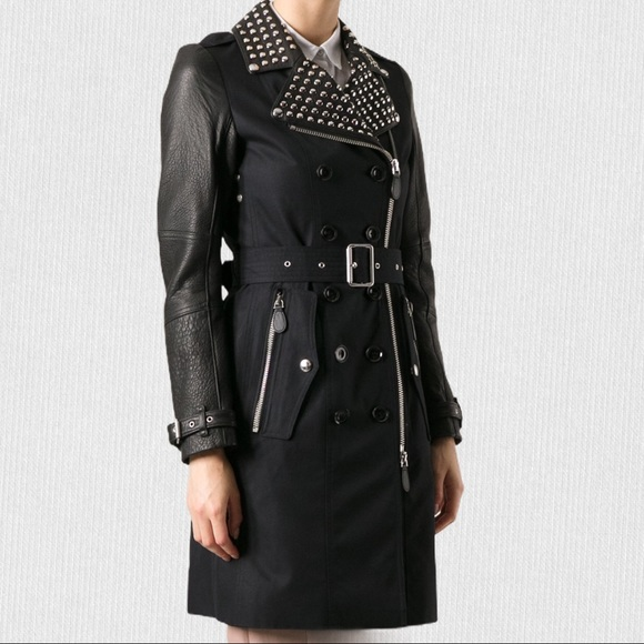 Burberry Brit leather sleeves studded trench coat